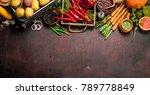 organic food. fresh crop of... | Shutterstock . vector #789778849