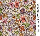 cartoon cute hand drawn spring... | Shutterstock .eps vector #789780010