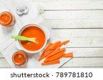 baby food. baby puree from... | Shutterstock . vector #789781810