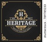 vintage luxury monogram banner... | Shutterstock .eps vector #789785233