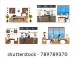 coffee shop set. people drink... | Shutterstock . vector #789789370