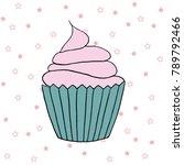 vector cupcake illustration.... | Shutterstock .eps vector #789792466