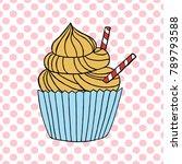 vector cupcake illustration.... | Shutterstock .eps vector #789793588