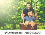 image of young father pushing... | Shutterstock . vector #789796600
