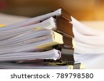 stack of paper documents with... | Shutterstock . vector #789798580