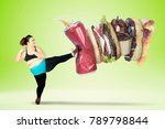 fat young woman kicking fast... | Shutterstock . vector #789798844
