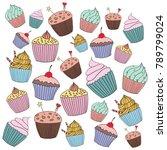 vector cupcake illustration.... | Shutterstock .eps vector #789799024