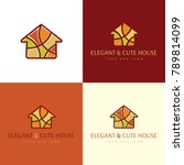 elegant and cute house logo and ... | Shutterstock .eps vector #789814099