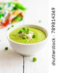 cream soup of green peas in a... | Shutterstock . vector #789814369
