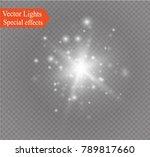 white glowing light burst... | Shutterstock .eps vector #789817660