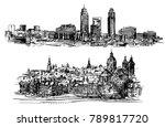 amsterdam skyline in historical ... | Shutterstock .eps vector #789817720