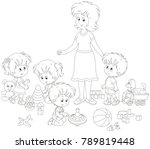 little boys and girls playing... | Shutterstock .eps vector #789819448