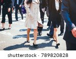 people walking on street... | Shutterstock . vector #789820828