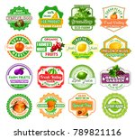 fruits icons and labels for... | Shutterstock .eps vector #789821116
