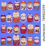candy pattern design. vector... | Shutterstock .eps vector #789822559