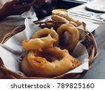 fried food. a snack platter... | Shutterstock . vector #789825160