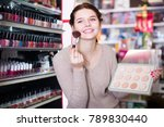 happy woman customer deciding... | Shutterstock . vector #789830440