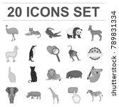 different animals monochrome... | Shutterstock .eps vector #789831334