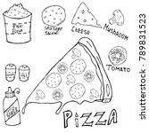 pizza recipe by ingredients. a... | Shutterstock .eps vector #789831523