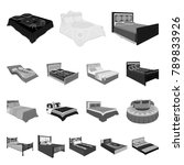 different beds monochrome icons ... | Shutterstock .eps vector #789833926