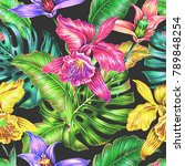 tropical seamless pattern... | Shutterstock . vector #789848254