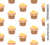 seamless pattern with cupcake...   Shutterstock .eps vector #789848854