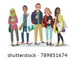 happy group of students with... | Shutterstock .eps vector #789851674