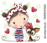 Cute Cartoon Puppy And A Girl...