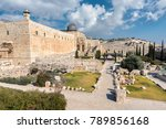 Small photo of Viiew to Mount of Olives. Al-Aqsa Mosque on the Temple Mount in Jerusalem, Old City, Israel.