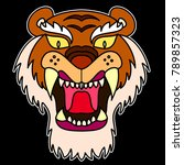 the mask tiger face sticker... | Shutterstock .eps vector #789857323