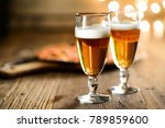 fresh beer and pizza on wood...   Shutterstock . vector #789859600