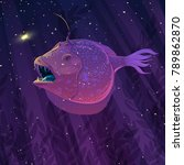 vector angler fish in... | Shutterstock .eps vector #789862870