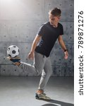football freestyle. young man... | Shutterstock . vector #789871276