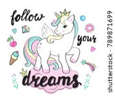 beautiful unicorns on the... | Shutterstock .eps vector #789871699