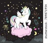 beautiful unicorn pop art and... | Shutterstock .eps vector #789871954