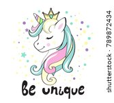 beautiful unicorn head and... | Shutterstock .eps vector #789872434