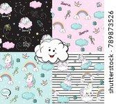 a beautiful unicorns pop art... | Shutterstock .eps vector #789873526