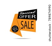 sale banner. yellow and black... | Shutterstock .eps vector #789874990