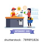 supermarket. girl at the cash... | Shutterstock .eps vector #789891826