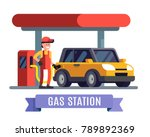 gas station worker filling up... | Shutterstock .eps vector #789892369
