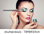 makeup artist applies eye... | Shutterstock . vector #789892414