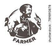 butcher keeps pork on his... | Shutterstock .eps vector #789893878
