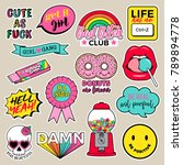 set of girls fashion patches ... | Shutterstock .eps vector #789894778