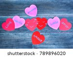 love concept  paper hearts with ... | Shutterstock . vector #789896020