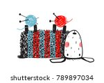 little sheep holding yarn balls.... | Shutterstock . vector #789897034