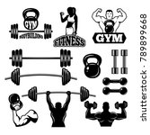 badges and labels for gym and... | Shutterstock .eps vector #789899668