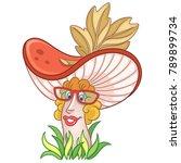cartoon mushroom character....   Shutterstock .eps vector #789899734