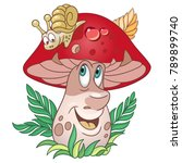 cartoon mushroom. porcini.... | Shutterstock .eps vector #789899740