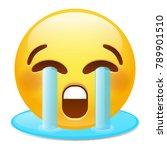 emoji tear laugh smiley face...   Shutterstock .eps vector #789901510