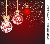 christmas background with balls ... | Shutterstock . vector #789911314
